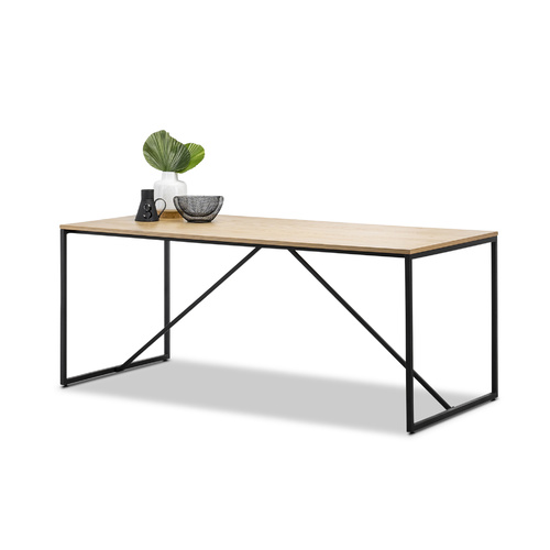 Macy Industrial Oak Dining Table, Black