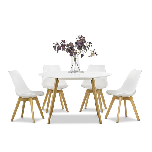 Line 5 Piece Round White Dining Set with 4 Replica Padded Eames Chairs