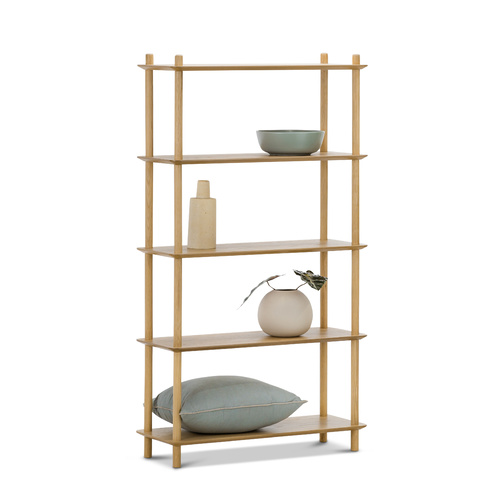 Rakk Tall Bookshelf, Natural Oak