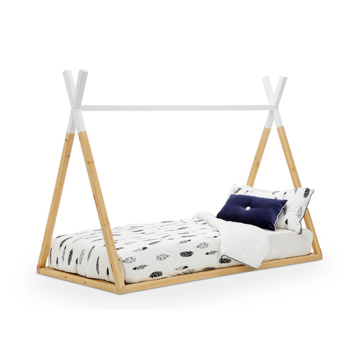 Teepee Kids Single Bed Frame, White & Natural Timber